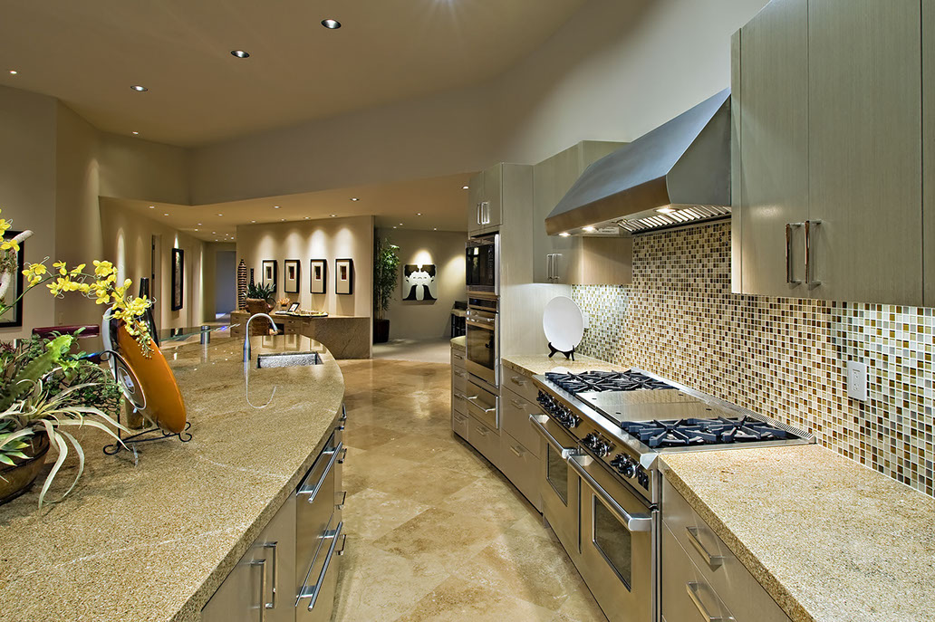 Pucci Tile & Marble - Tiled Kitchen with Glass Backsplash